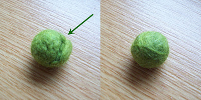 Felted bead, before and after repair