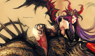 Sexy Demon Girl Wings Horn Anime HD Wallpaper Desktop PC Background 1812