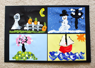 "Tessa's completed ""The Four Seasons"" project. I used an inexpensive piece of black poster board cut down to size and a tape runner to mount her scenes."
