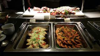 Steamed fish and stir fried prawns