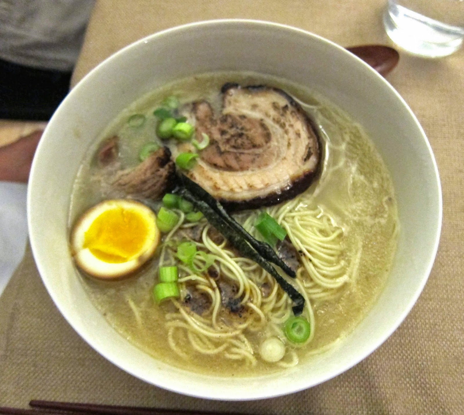 Ramen with tonkotsu broth, chashu pork, and soft-boiled eggs