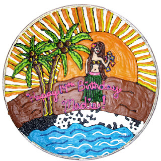 tropical cookie cake with hula girl