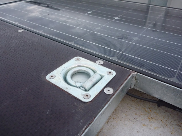 recessed lashing point fitted to Buffalo Board decking on the roof rack