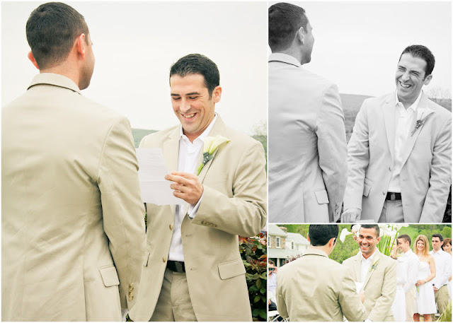 grooms laughing during the ceremony