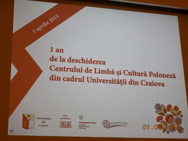 Centrul Cultural Polonez, 1 an in Craiova