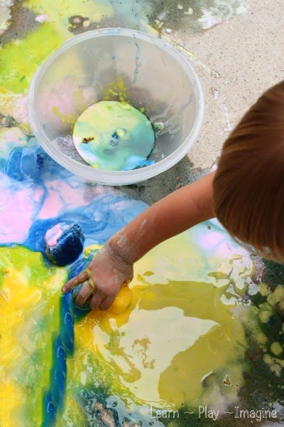 Recipes and activities for a sidewalk chalk play date - invite your friends over for some messy summer fun!