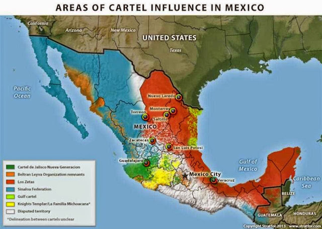 Map of Drug Cartel Influence in Mexico