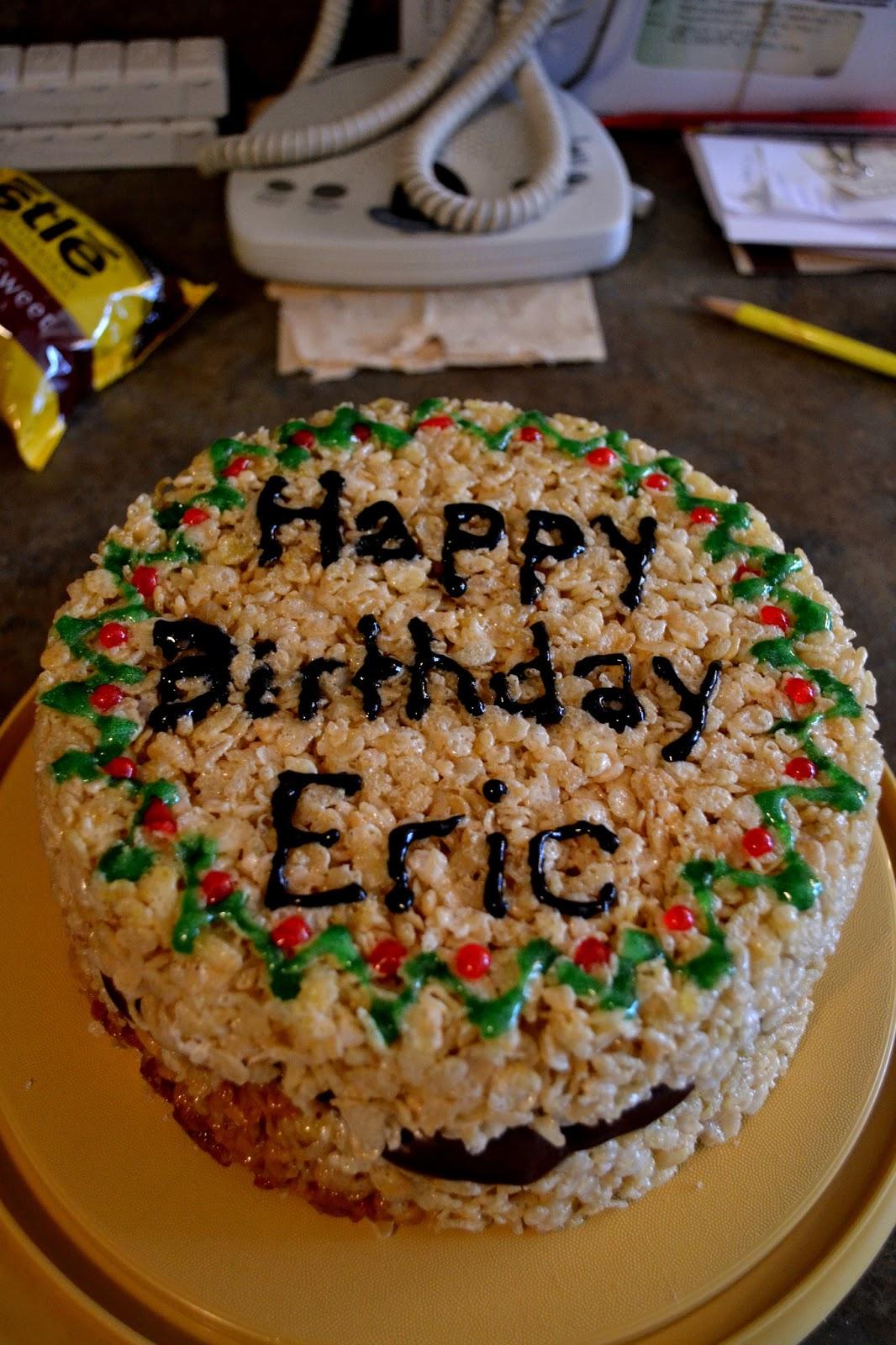 Simple Savory Satisfying Rice Crispy Birthday Cake