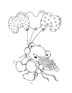 urso com baloes e flores