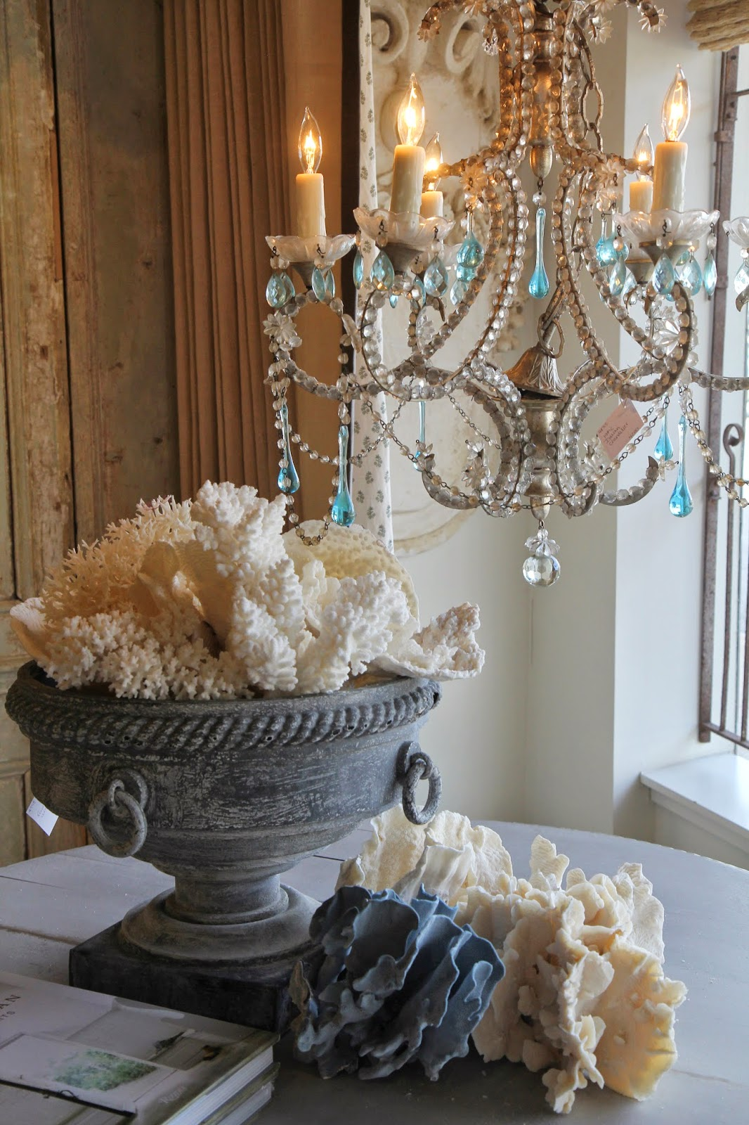 Antique blue raindrop chandelier; Inspirational Chandeliers and Sconces; Nora's Nest