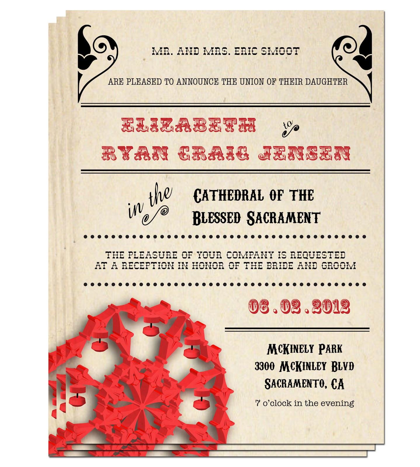 E Hernandez Designs: Vintage Carnival Wedding Invitations