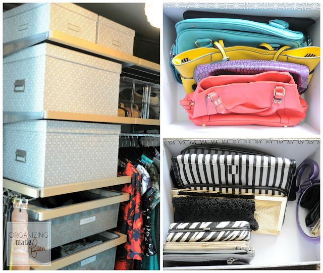 Storing purses and clutches in pretty printed storage boxes from the Container Store :: OrganizingMadeFun.com