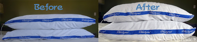 Spring Cleaning:  The Bedrooms - Before & After Pillow washing