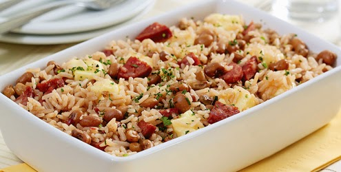 Today's recipe: Oven baked rice with sausage and cheese