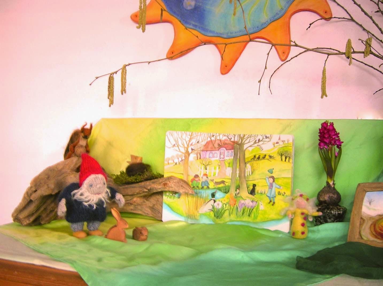 Jahrezeitentisch März, Jahreszeitentisch Frühling, Wollzwerge, Waldorfkindergarten, Puppenspiel
