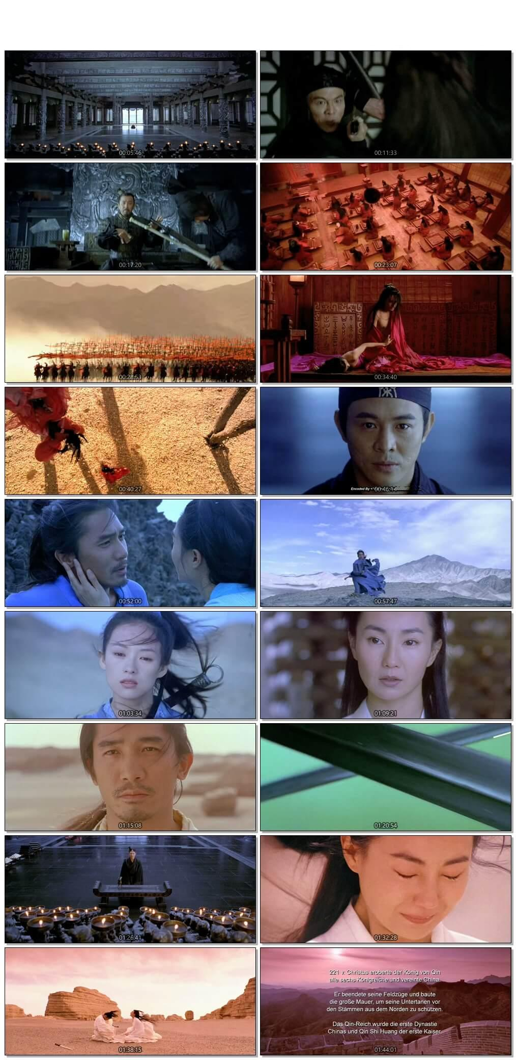 Screen Shot Of Hero 2002 Chinese Movie Hindi Dubbed Free Download 100MB HEVC For Mobiles