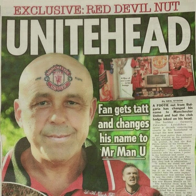 Shocking Photo : Man Gets Manchester United Club Crest Tattoo On His Forehead