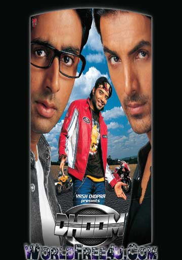 Poster Of Bollywood Movie Dhoom (2004) 300MB Compressed Small Size Pc Movie Free Download worldfree4u.com