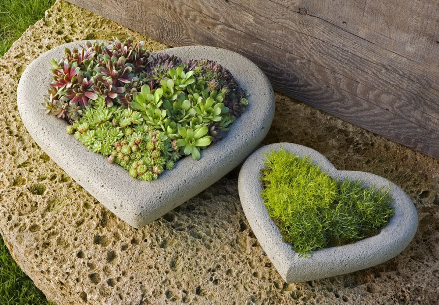 Unique Planter Ideas Garden Heart Stones