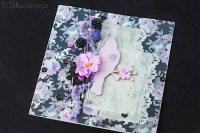 скрапбукинг открытка ягода ежевика цветы черно-сиреневый