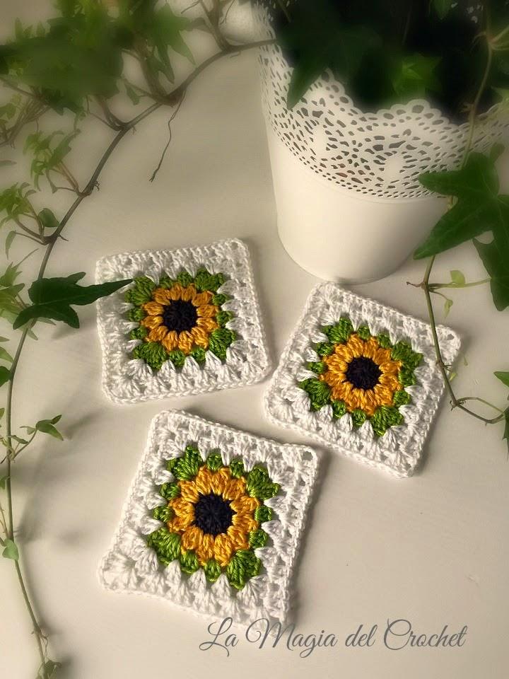 La Magia del Crochet: GRANNY SQUARE GIRASOL A CROCHET