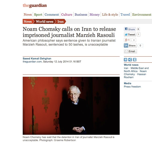 http://www.theguardian.com/world/2014/jul/12/noam-chomsky-iran-release-imprisoned-journalist-marzieh-rasouli