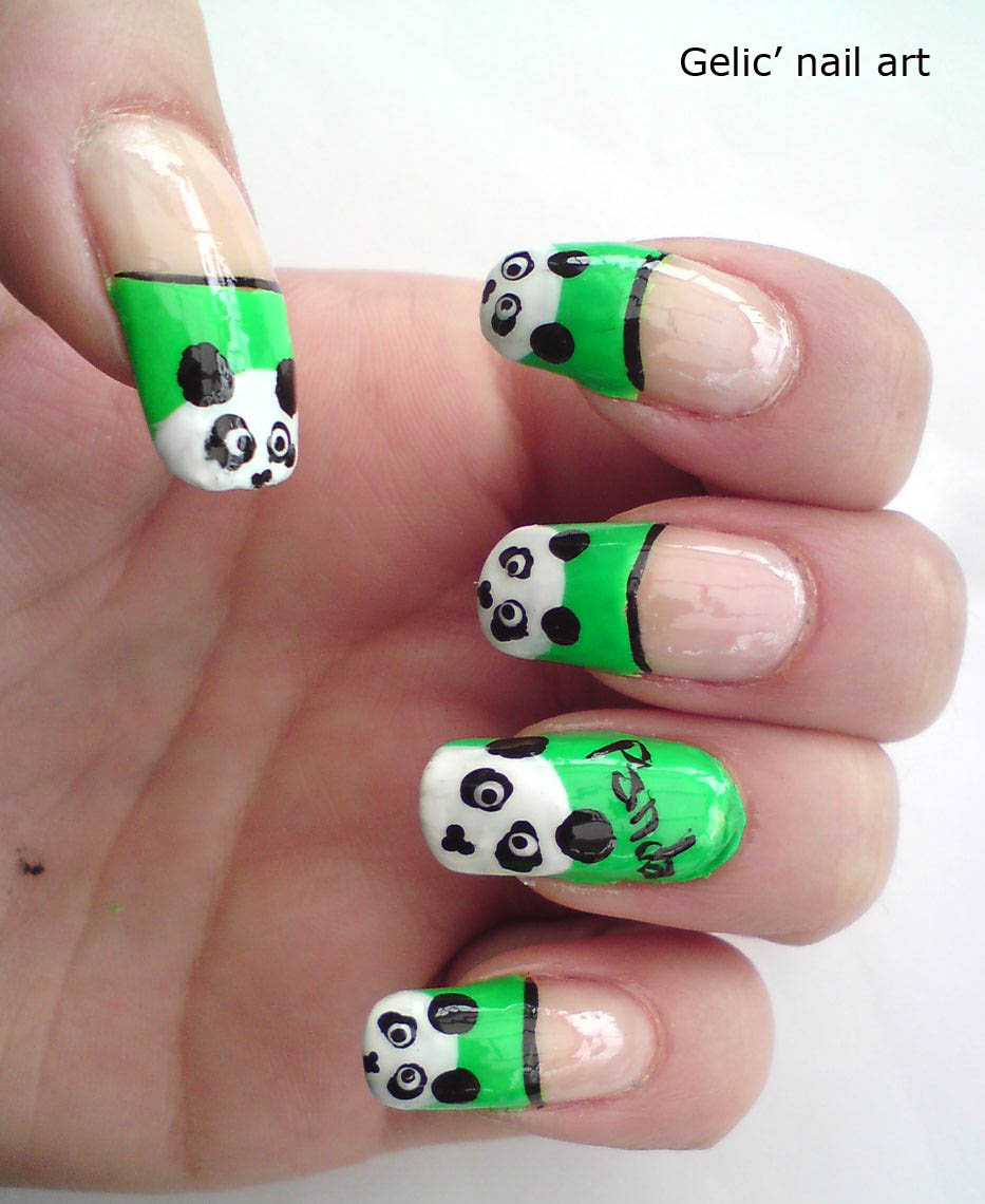 Gelic nail art cute panda nail art on green funky french prinsesfo Images