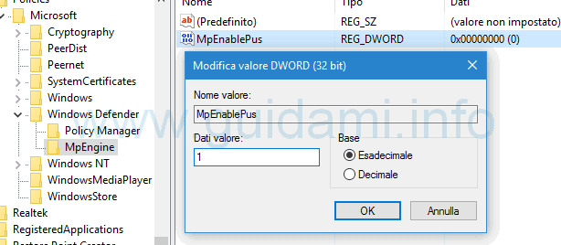Modifica dati valore MpEnginePus registro sistema