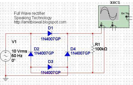 full wave bridge rectifier circuit multisim simulation