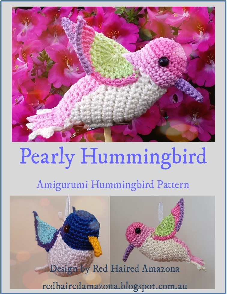 Red Haired Amazona Pearly The Hummingbird Amigurumi Crochet Pattern
