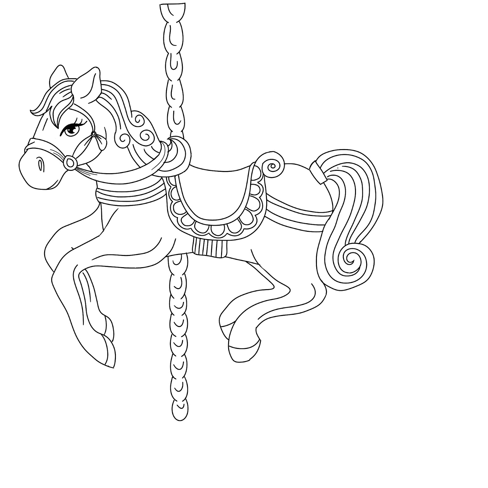 how to draw a carousel horse