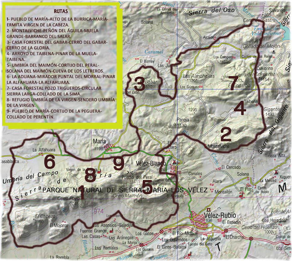 Listado rutas en mapa