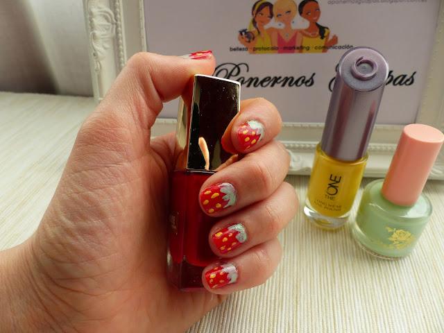 Nail art fresas Oriflame