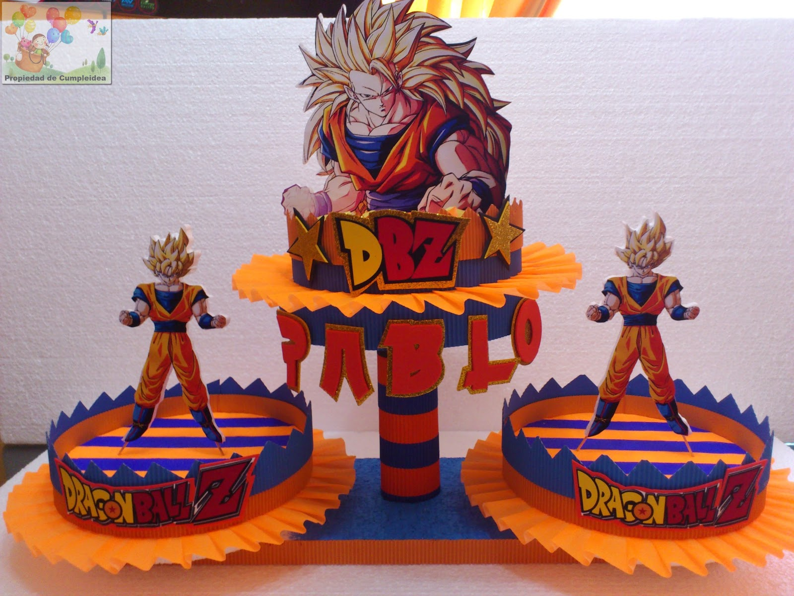 DECORACIONES INFANTILES: DULCERA 3 BASES GOKU DRAGON BALL Z