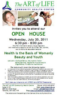 Health is the Basis of Womanly Beauty and Youth, Open House the Art of Life Community Health Centre, Toronto, July 20, 2011