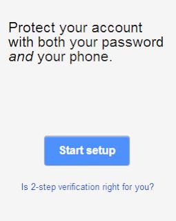 Click on Start setup to start 2 step verification