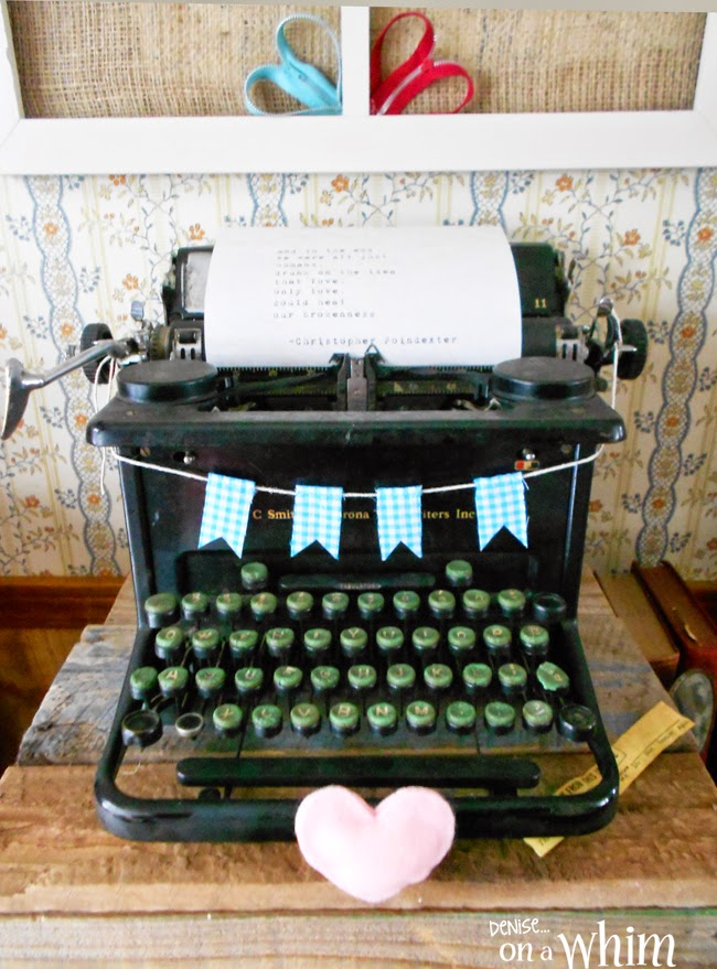 Typewriter Decorated for Valentines Day from Denise on a Whim