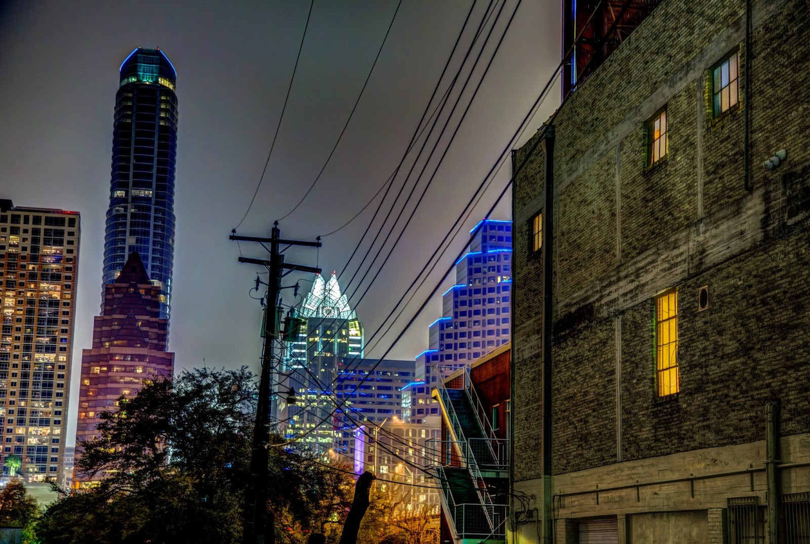 A back alley view of down town Austin Texas after dark - HDR