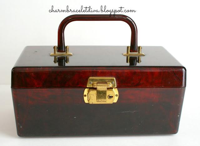 vintage faux tortoise shell lucite box