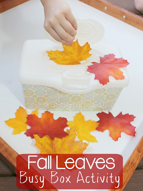 This fine motor activity keeps kids busy, entertained, and quiet as they learn about fall leaves!