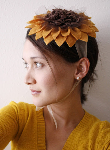 One-of-a-Kind Handmade Felt Sunflower Hat Tutorial by Delia Creates