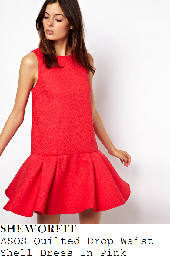 lucy-mecklenburgh-pink-red-textured-sleeveless-dress