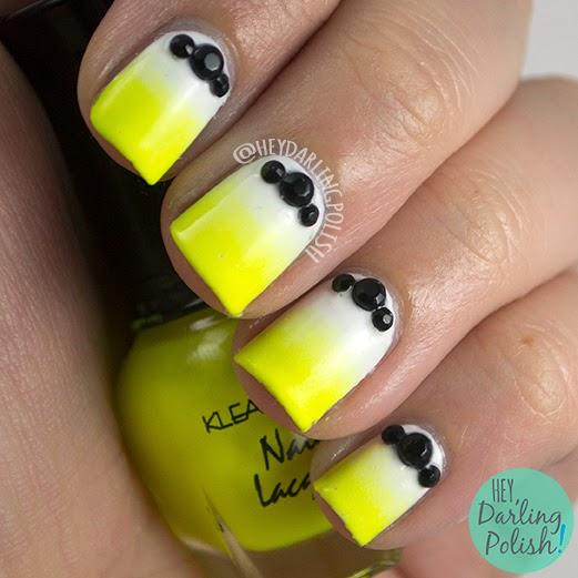 nails, nail art, nail polish, gradient, neon, studs, hey darling polish, the nail challenge collaborative
