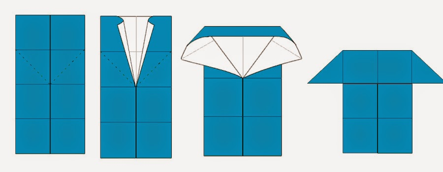 Bước 6: Mở 2 mép trên của lớp đầu tiên hình chữ nhật ra phía ngoài. Khi mở một tay ta giữ tâm hình chữ nhật sao cho cạnh trên cùng của hình chữ nhật khi gấp vào nó chạm vào tâm của hình chữ nhât. Ta sẽ được như hình dưới.