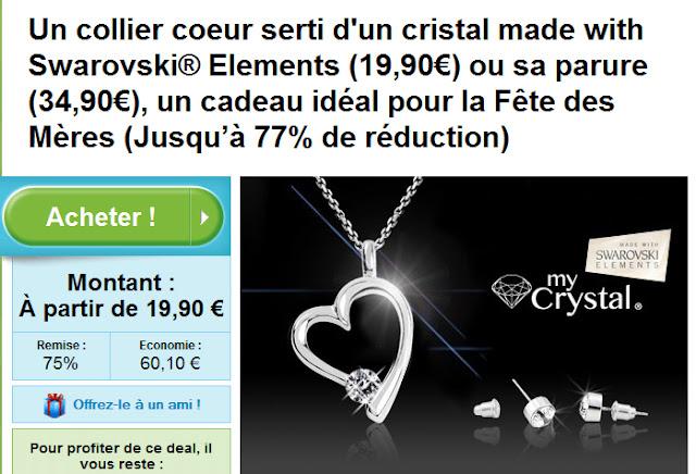 Un collier coeur serti d'un cristal made with Swarovski® Elements (19,90€) ou sa parure (34,90€), un cadeau idéal pour la Fête des Mères (Jusqu'à 77% de réduction)