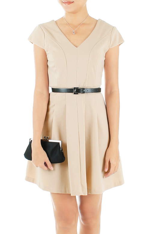 ASOS-inspired V-neck Flare Dress with Cap Sleeves
