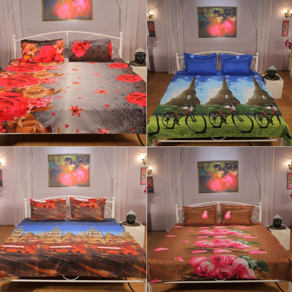 Buy Super Spreads – Pack of 4 Digital Printed Bedsheest by Valtellina for Rs.2899 : BuyToEarn