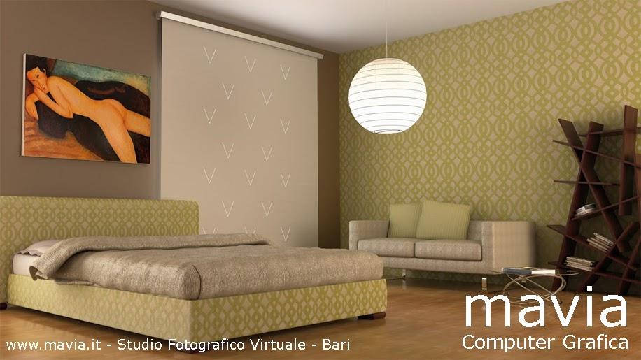 Arredamento di interni interior rendering 3d modellazione e rendering 3d camera da letto con - Tenda camera da letto ...
