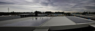 Solar Farm on Warehouse Corrugated Rooftop