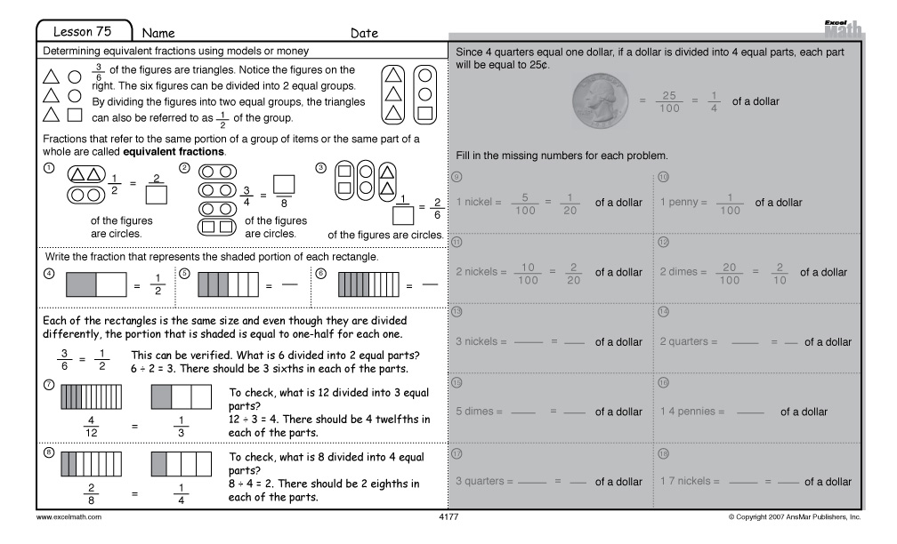 Excel Math Fourth Grade Lesson 75 Student Worksheet